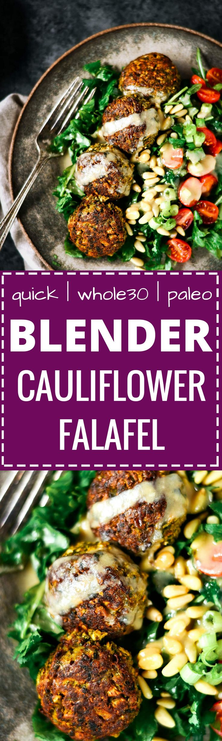 These warm flavorful falafels. A low carb delicious whole30 meal that is easily made in a blender.