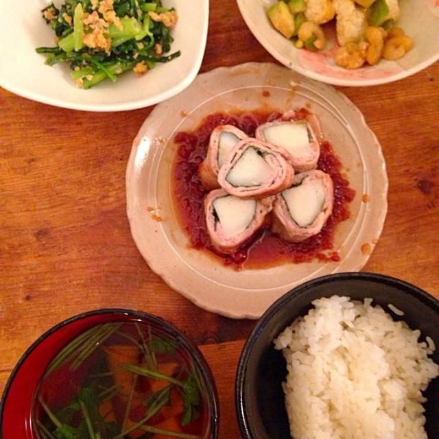 3月22日の晩御飯 - 11件のもぐもぐ - 菊菜の胡桃和え、揚げ豆腐の海老アボカドわさび醤油かけ、長芋紫蘇豚ロール梅肉ソース添え、エリンギと三つ葉のお吸い物 by カオリン