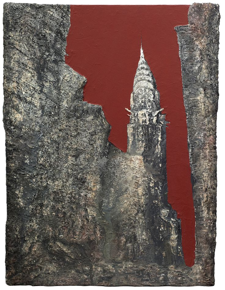 """Picture """"Empire State"""". Dimensions: 97 cm (W) x 130 cm (H). Collage: cardboard, latex, marble dust, pigments, acrylic paint on canvas support."""