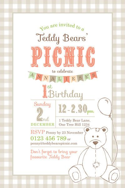 Printable Custom Birthday Party Invitation Template - Teddy Bears Picnic. $18.00, via Etsy.