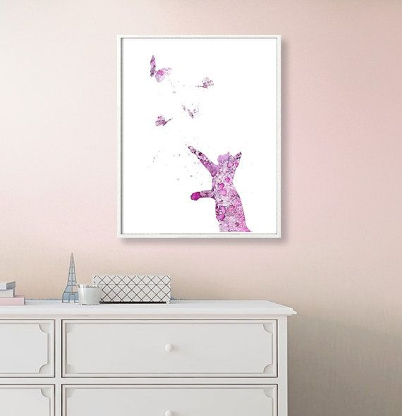Cat Watercolor Art Print Cat Print Home Wall Décor Cat by QPrints