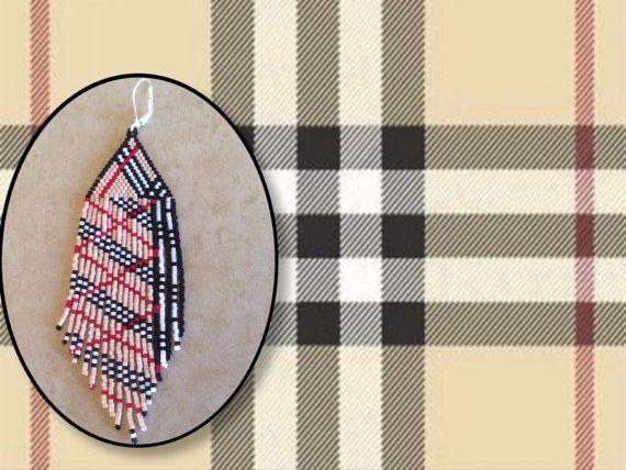 Franges longues boucles doreilles perles Plaid par Bead4Fun sur Etsy