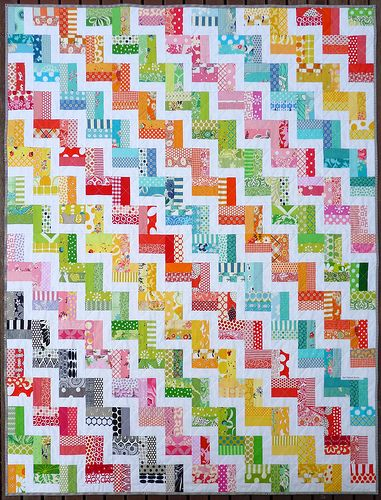 Zig Zag Rail Fence Quilt Pattern. Have I mentioned I LOVE bright colors?