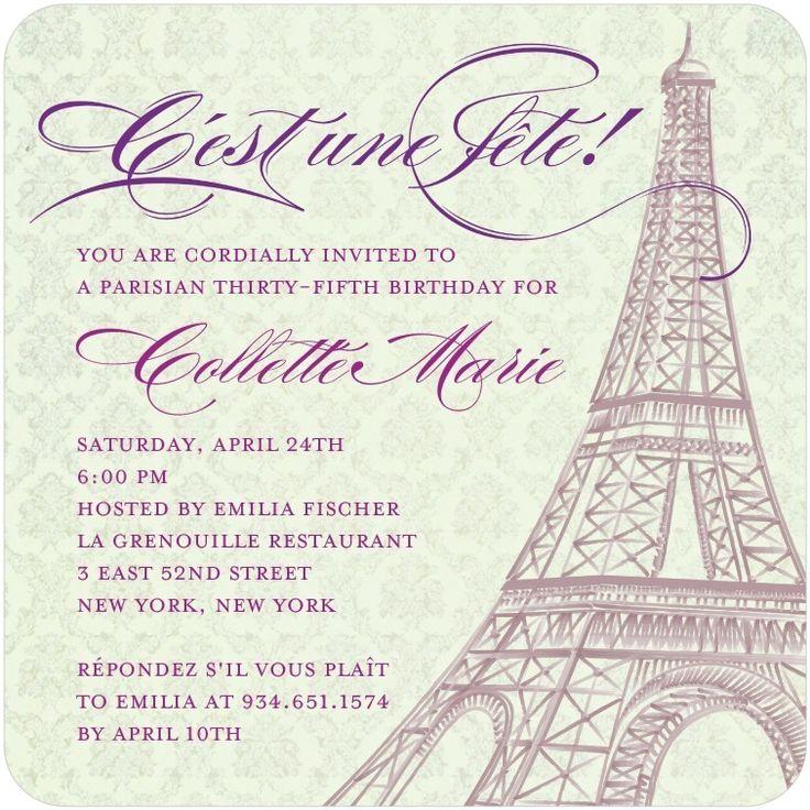 28 best Paris images on Pinterest Paris party, Parisian party and - fresh invitation 60th birthday party templates