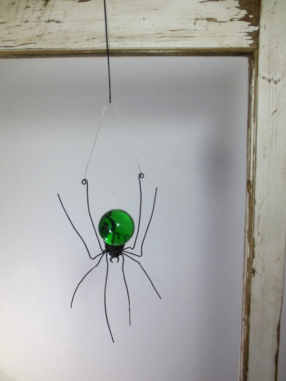 Emerald Green Sun Catcher Window Spider Hanging by thedustyraven