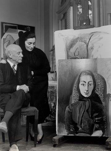Picasso and Jacqueline, 1955 ~Via Pamela Scott