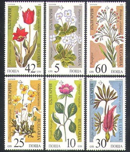 Bulgaria 1989 Endangered/Flowers/Plants/Trees/Nature/Environment 6v set (n37795)