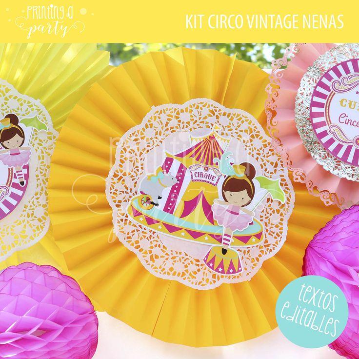 Decoraciones Kit Imprimible Circo Niña. Circus party decorations.