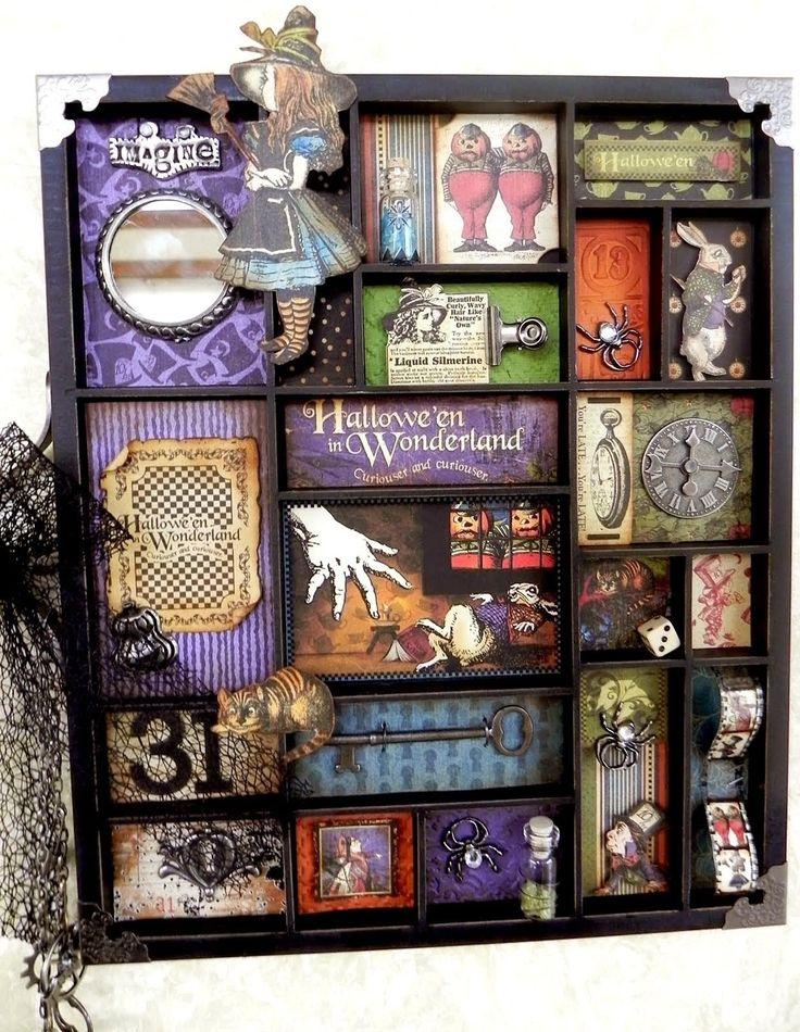 Hallowe'en in Wonderland altered printer's tray