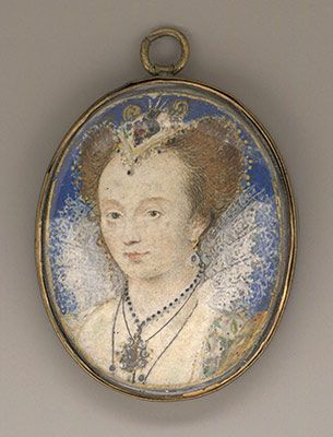 Miniature depicting an unknown woman, possibly Queen Elizabeth II, painted by Nicholas Hilliard around 1590 A.D.