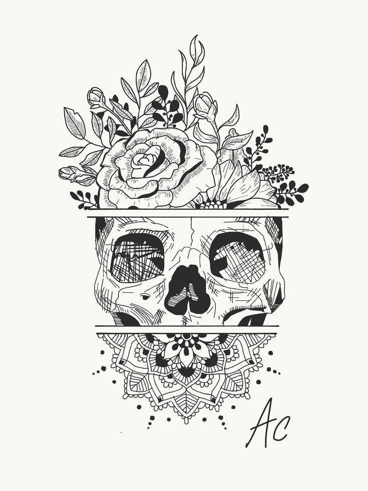 Make a Tattoo … Skull … Flowers … Mandala insta: amylquise_drawings #amylquisedrawings #Flowers #Create #insta