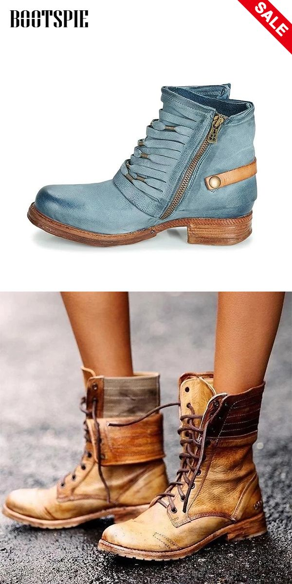 Classic Lace Up Low Heel Buskins Martin Boots SHOP NOW