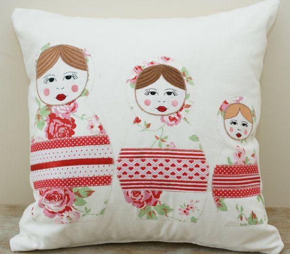 Embroidered and appliqued cushion. Matryoshka. Babushka pillow.