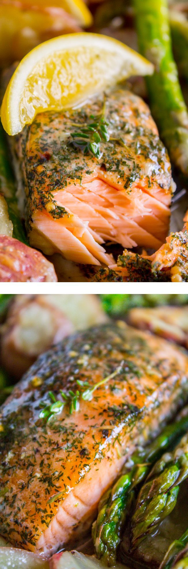 Sheet Pan Salmon with Creamy Scalloped Potatoes and Asparagus from The Food Charlatan.