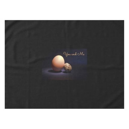 Chicken and quail eggs in love. Text «You and Me». Tablecloth #tablecloth #chicken #quail #eggs #love #couple #lovers #beige #darkblue #stilllife #photography #darkness #funny #photo #food #kiychen #valentinesday  #darkpurple  #fantasy #youandme #customized #personalized #graphics #artwork #buy #sale #giftideas #zazzle #discount #deals #gifts #shopping