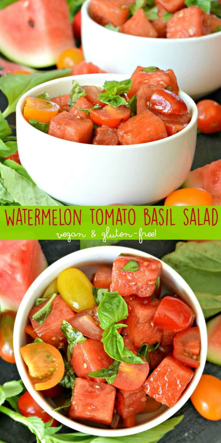 Watermelon Tomato Basil Salad is a summertime treat! The flavors of the fruit are enhanced by balsamic vinegar. It's vegan, gluten-free, and healthy. via @VeggiesSave