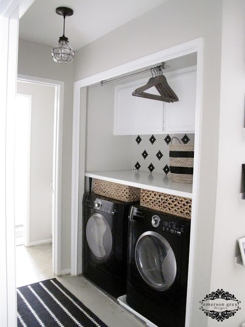 Our new home {part 6/ laundry room redo}, a new laundry room space, black and white, functional laundry room