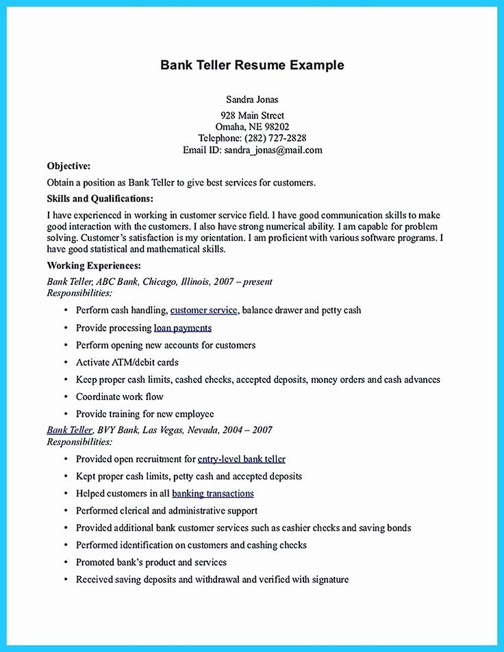 Bank Teller Resume Objective With No Experience Printable Resume Template In 2020 Bank Teller Resume Bank Teller Resume Examples
