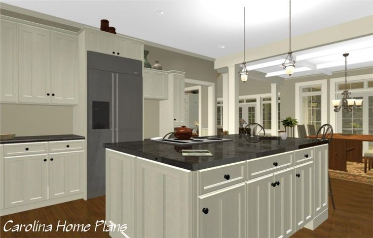 This large open layout house plan features a spacious open - Open kitchen floor plans with islands ...