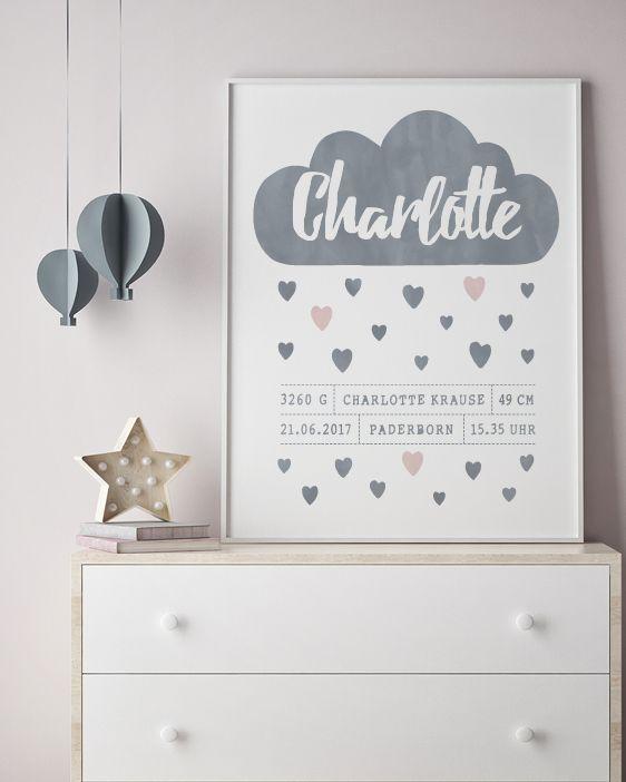 Poster zur Geburt- Sterne und Wolke