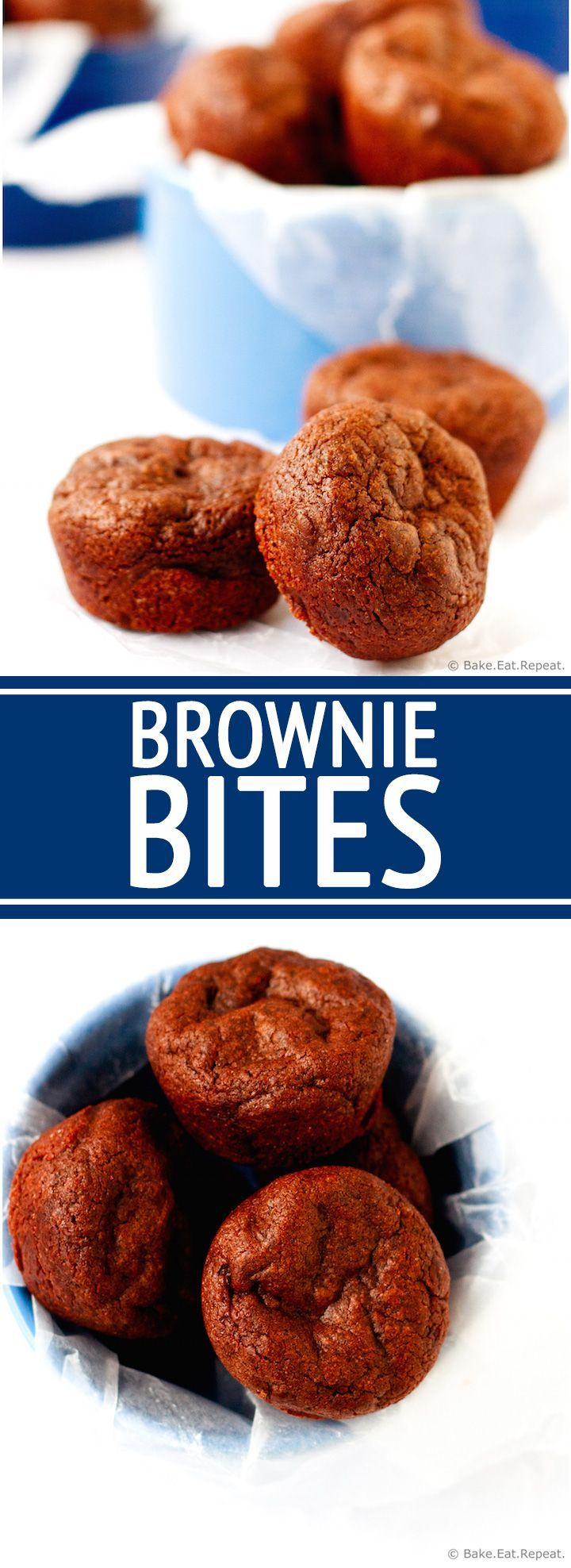 Brownie Bites - Chewy, chocolatey, mini brownie bites. Because mini desserts are just better. Especially when they involve chocolate!