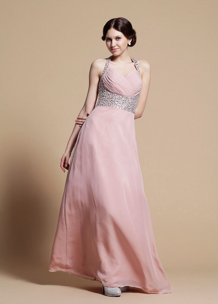 Flowering strapless sequins haltered a-line chiffon dress  A-line/Princess,Floor Length,Halter,Empire,Sleeveless,Pleats,Sequins,Zipper,Chiffon,Spring,Summer,Fall,