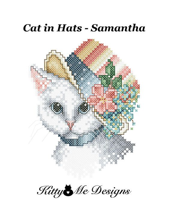 Cross Stitch Pattern PDF  Cats in Hats Samantha  by arcadecache, $8.95