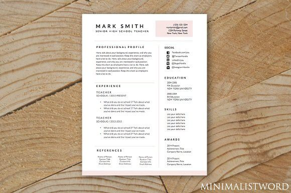 Pink Resume Template - MS Word. Resume Templates