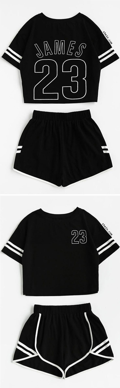 Crop Varsity T-shirt And Contrast Binding Notch Shorts Set