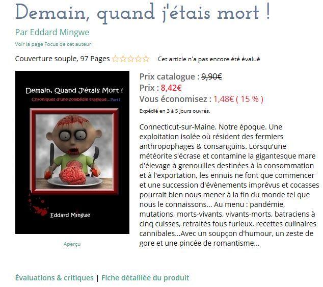 Et voilà une petite version papier disponible dès maintenant ! http://www.lulu.com/shop/eddard-mingwe/demain-quand-j%C3%A9tais-mort/paperback/product-21825483.html