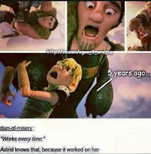 HAHA!! THEY'RE THE EXACT SAME REACTION!! NOW WE ALL WILL EXPECT WHAT A NEW PERSON (IN HTTYD 3) FACE WILL LOOK LIKE IF THEY'VE NEVER RIDDEN A DRAGON BEFORE...