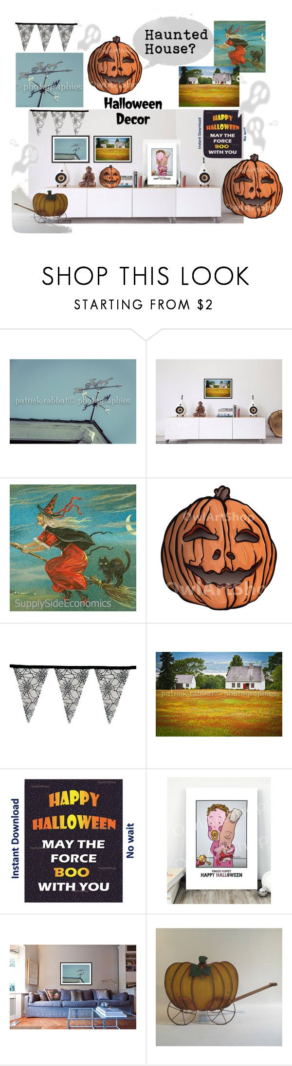 Happy Halloween - Haunted House ?! by owlartshop on Polyvore featuring interior, interiors, interior design, home, home decor, interior decorating, Halloween, art and decor