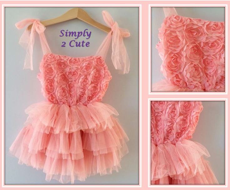 'LULU' - Peach. Soft rosette bodice with adjustable shoulder straps over a layered chiffon tutu skirt. Skirt is short in length in smaller sizes. Also available in lilac. Fits 2-6 yr old. To purchase: http://simply2cute.tictail.com/product/lulu-persika