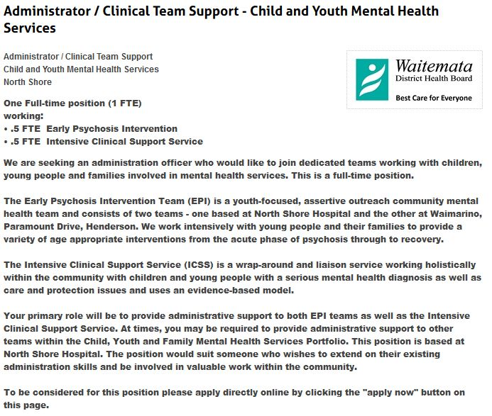 Administrator / Clinical Team Support - Child and Youth Mental Health Services  Administrator / Clinical Team Support Child and Youth Mental Health Services North Shore