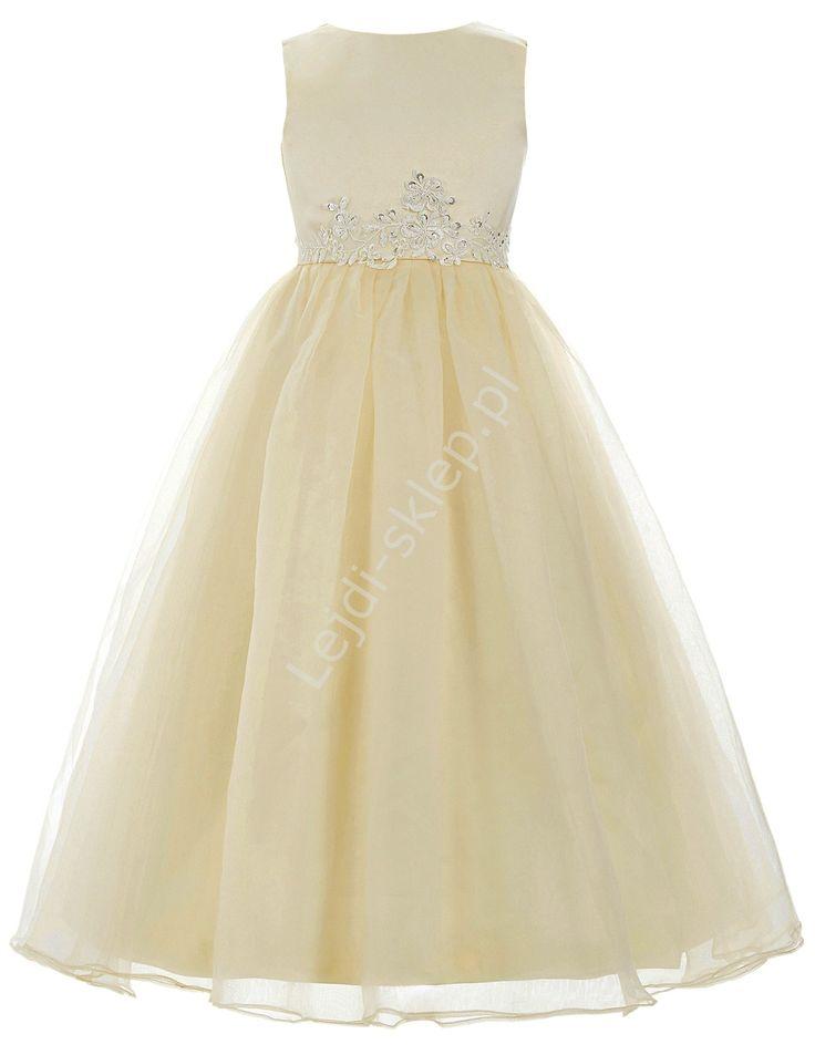 Złoto beżowa sukienka  zdobiona koronką dla dziewczynki | sukienki na wesele dla…