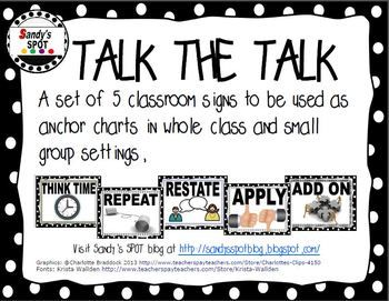 Classroom signs to use as you implement TALK MOVES in the classroom.  Print and display!