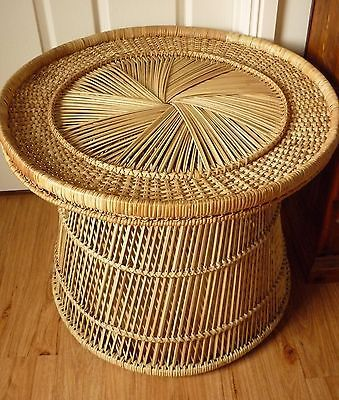 Vintage-RETRO-Cane-Wicker-Rattan-Table
