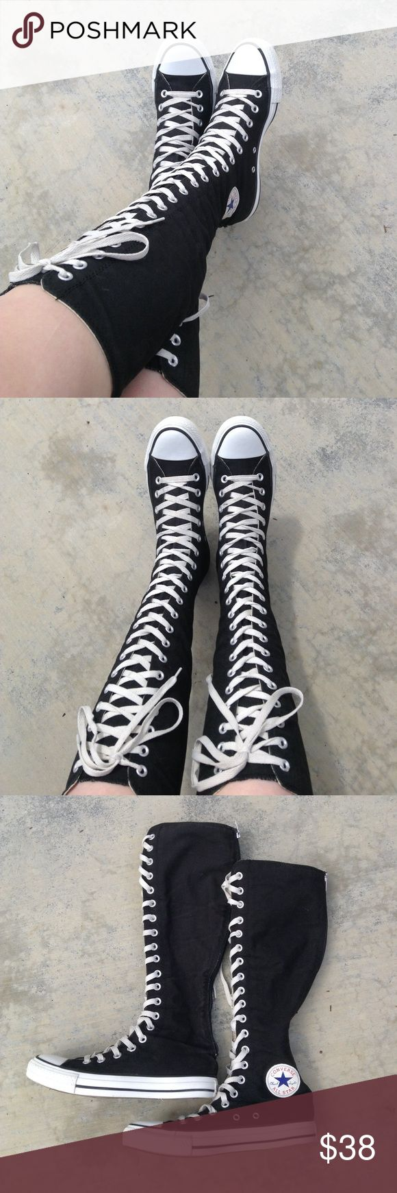 Black & White Tall Converse High-Tops Boots Very cute, absolutely amazing, and in great condition! Soles aren't worn down, and the laces don't have any stains on them, just a tad darker since they're not brand new. Flaws: tiny yellow dot on front of the right shoe, and some dirty spots as seen in the last picture. Not noticeable. Offers are welcome! Converse Shoes Lace Up Boots