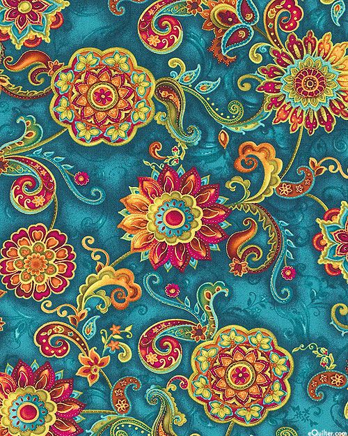 eQuilter Bellagio - Mosiac Flowers - Teal/Gold