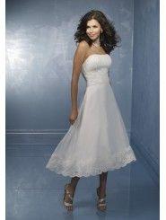 Organza Strapless Softly Curved Neckline Tea-Length Wedding Dress