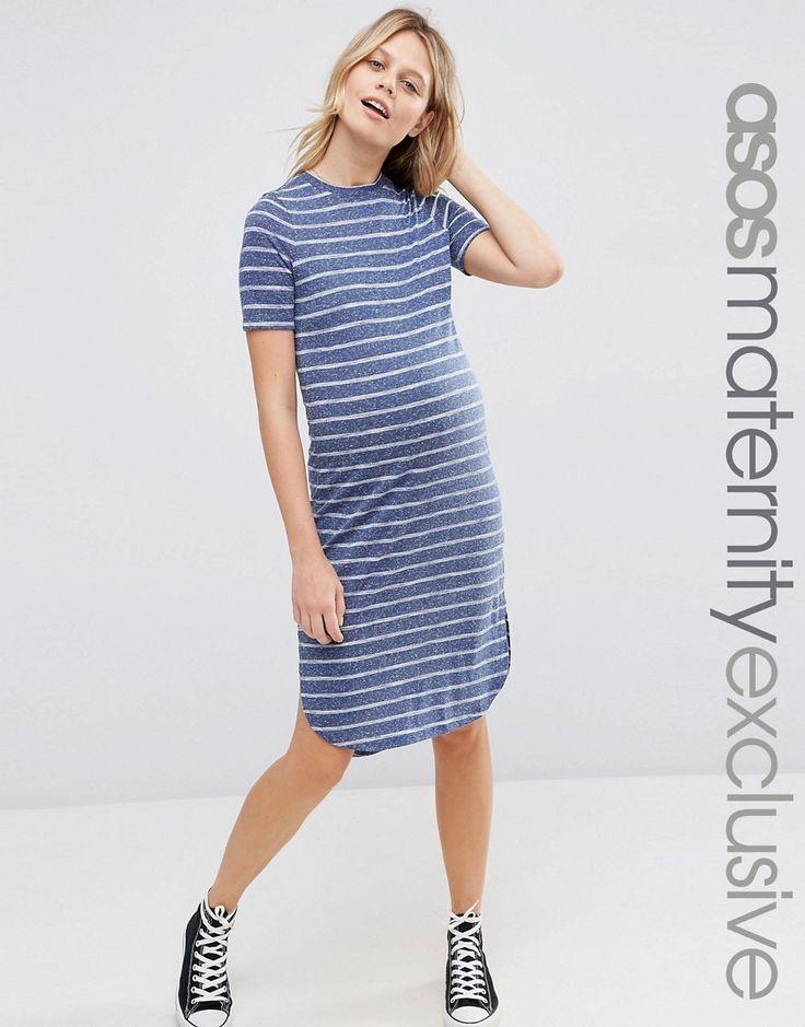 Image 1 ofASOS Maternity Curved Hem T Shirt Dress in Stripe