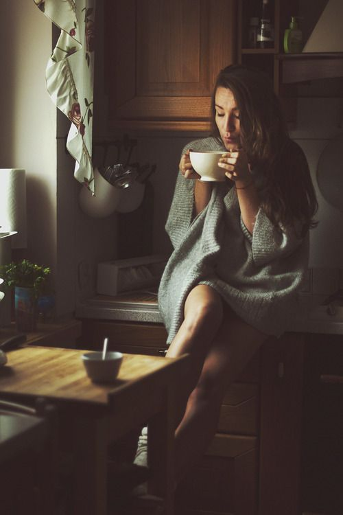 morning coffee, oversize sweater, sunrise - oh so perfect.