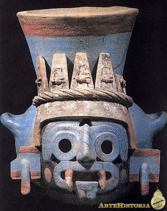 Vasija representando al dios de la lluvia Tlaloc. Cultura Azteca (México) Autor: Fecha: siglo XV Museo: Características: Estilo: Material: Cerámica Pintada