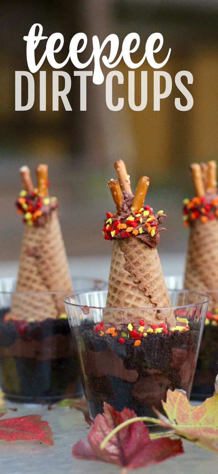 Teepee Dirt Cups:  The perfect teepee snack for kids of all ages.  Children can learn about the various shelters of nomadic Indian tribes and also bury a fish just like the Wampanoag Indians taught the Pilgrims to do at the First Thanksgiving!