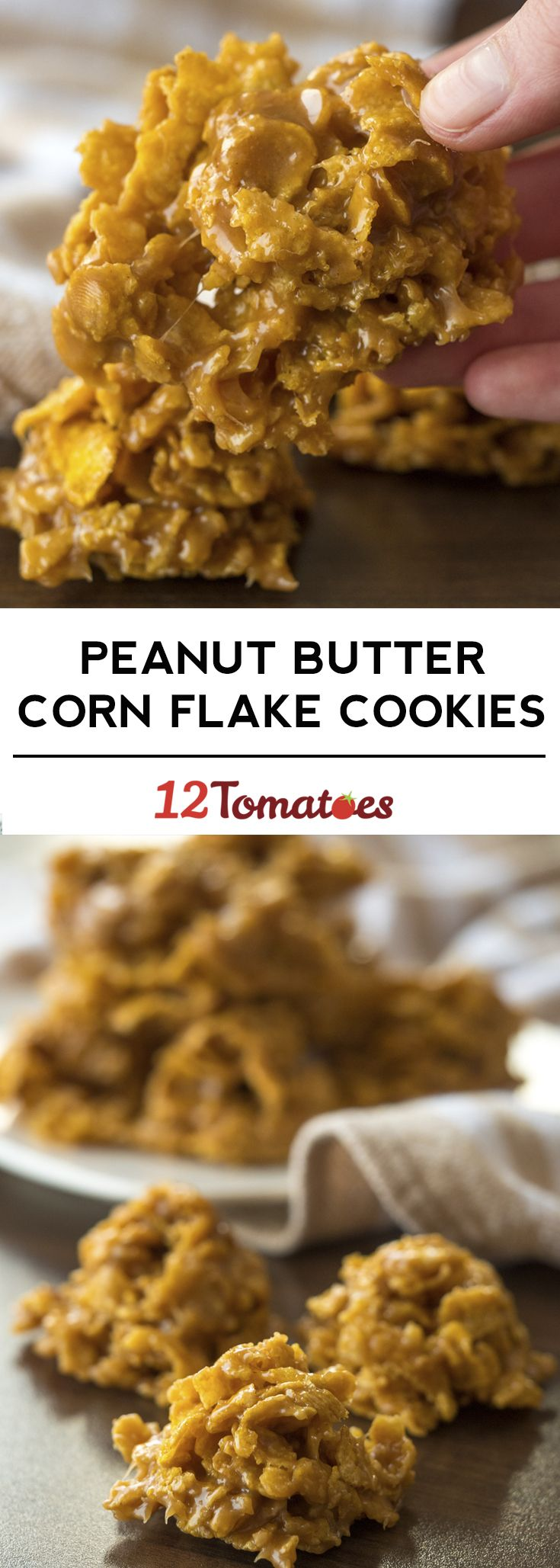 No-bake peanut butter corn flake cookies!