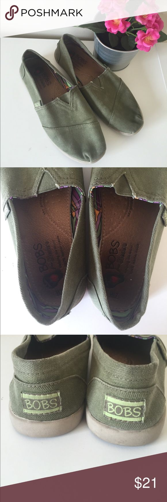 BOBS shoes Similar to TOMS. Slip on, olive green. Great used condition! Size 7. BOBS Shoes