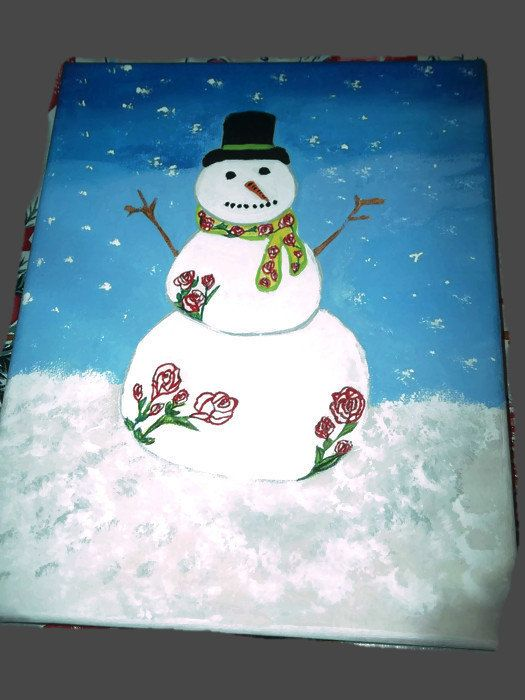 Winter Roses Snowman Christmas Acrylic Abstract by missy69 on Etsy