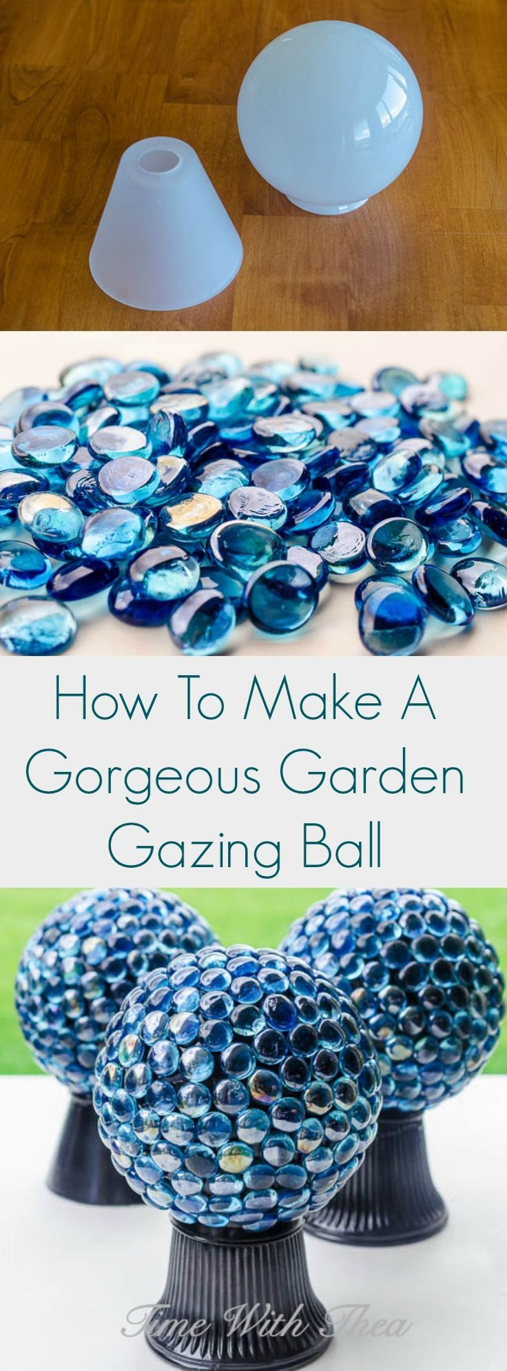 Make this gorgeous garden gazing ball to add to your garden decor using items purchased at the thrift store and dollar store! It is both easy and inexpensive to make with these detailed tips and instructions. / timewiththea.com
