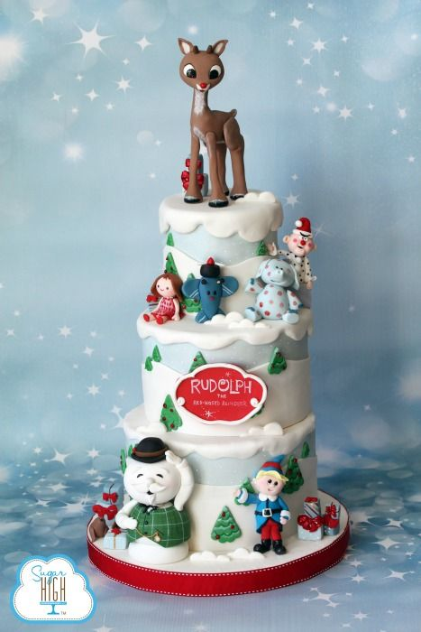 Rudolph the Red Nosed Reindeer Cake! Hand crafted by the one and only Brenda Walton of Sugar High Inc.
