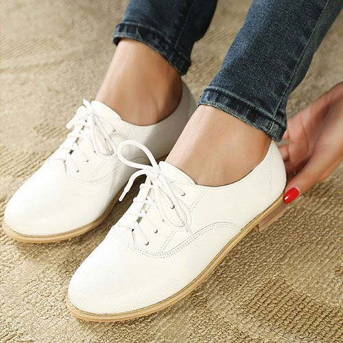 Price:$30.99 Color: White Material: Leather British Style Retro White Flats